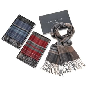 Equilibrium Men's Checked Scarf - Grey