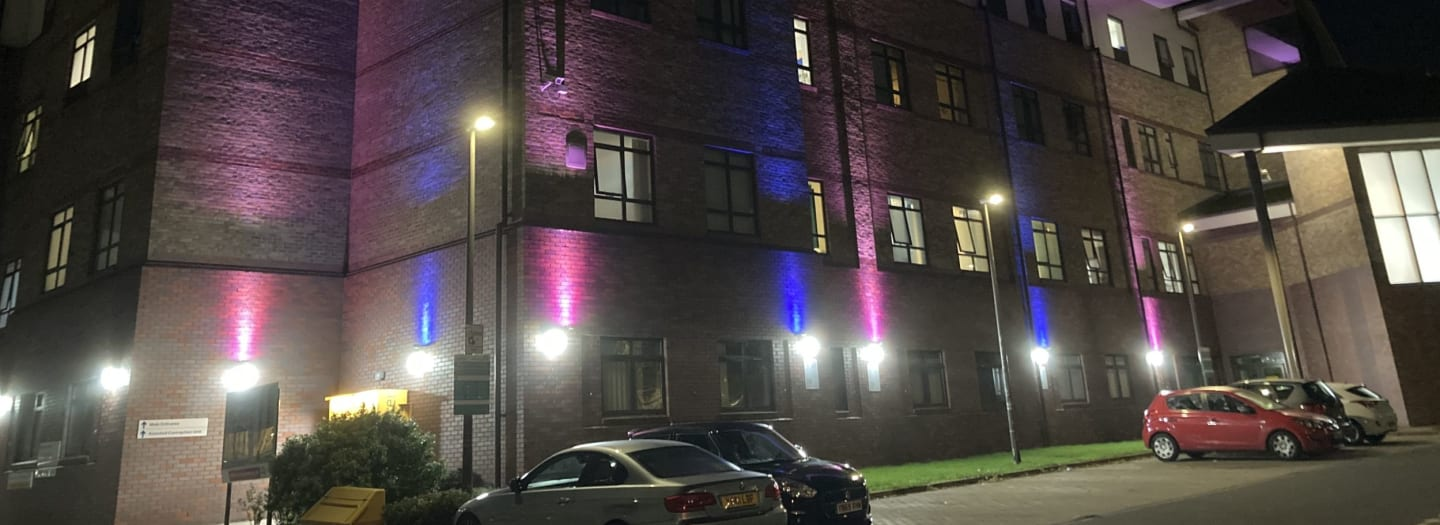 The Jessop Wing lights up in recognition of Baby Loss Awareness Week